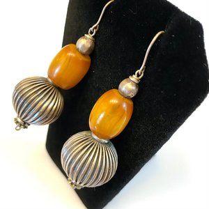 Tribal Amber & Silver Earrings